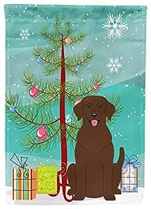 Caroline tesoros bb4181chf feliz árbol de Navidad Chocolate Labrador de lona casa bandera, grande, Multicolor