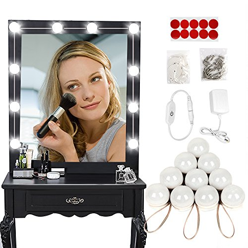 Hollywood Style LED Vanity Makeup Mirror Lights Kit,with Touch 10 Dimmable Light Bulbs, Lighting Fixture Strip for Makeup Vanity Table Set in Dressing Room (Mirror Not Include)