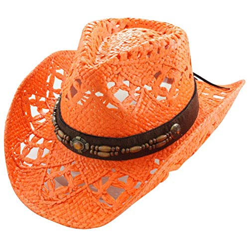 Vamuss Orange Straw Cowboy Hat W/Vegan Leather Band & Beads, Shapeable Brim