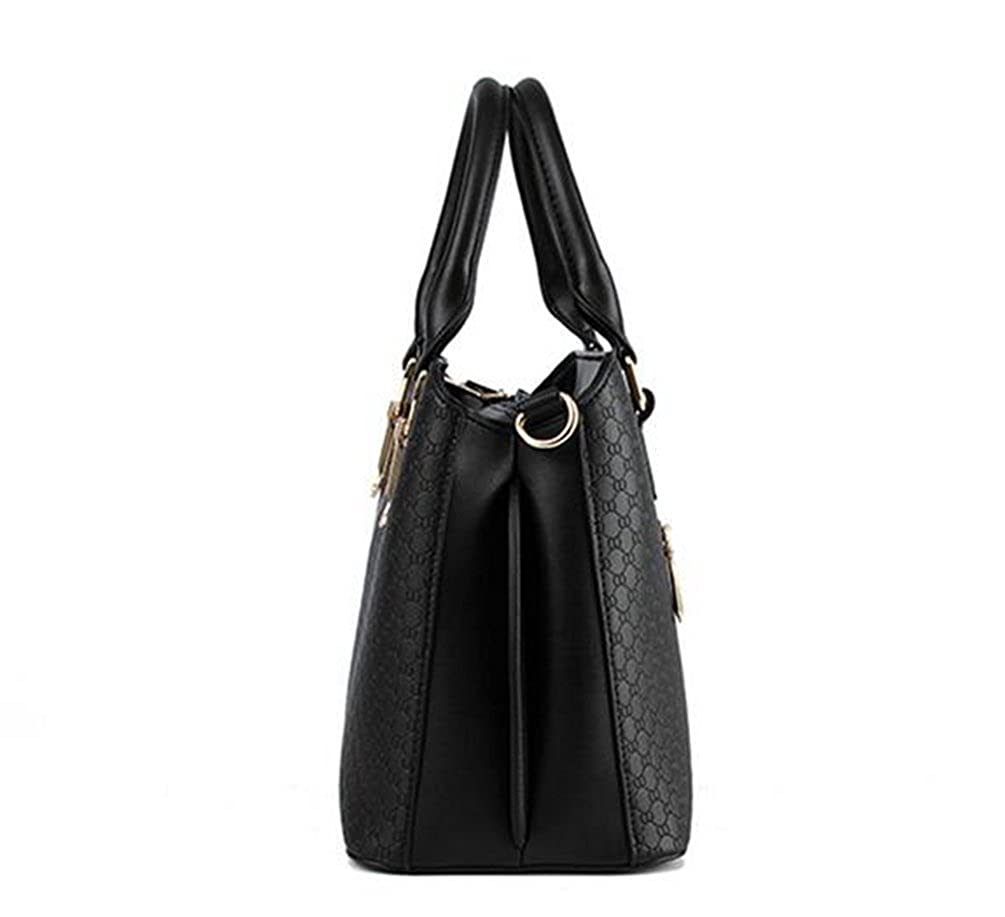 YAANCUN Womens PU Leather Colourful High Quality Office Handbag Tote Bags Black