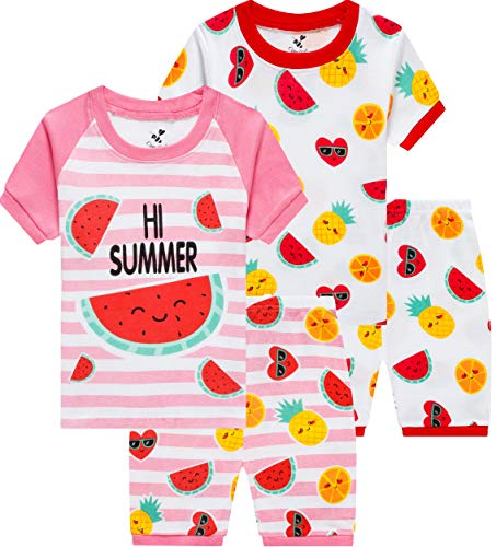 Pajamas for Girls Summer Children 4 Pieces Watermelon Sleepwear Baby Fruit Clothes Kids Short PJs Set -