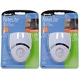 Amertac - Westek 73092CC LED Night Light, Motion Sensor, White/Nickel, - 2 Pack
