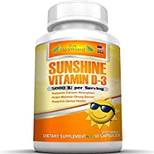 SUNSHINE VITAMIN D3 HIGH POTENCY Vegetable Capsules With 5000 IU Cholecalciferol Per Serving, Supports Calcium Absorption, Helps Maintain Strong Bones, Supports Dental Health