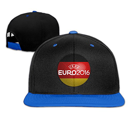 ZOENA 2016 Germany Flag Football Poster Hip-Hop Cotton Hats Hiphop Hat RoyalBlue (Embroidered Ducks Leather)