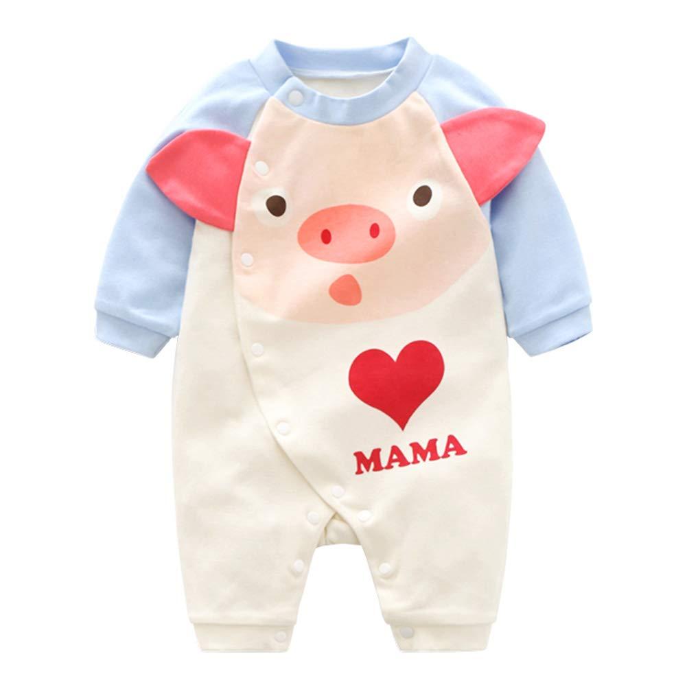 Cartoon Baby Jumpsuits Cotton Cute Romper Jumpsuits Long Sleeve Onesies for Footless Sleep and Play 80cm Asien