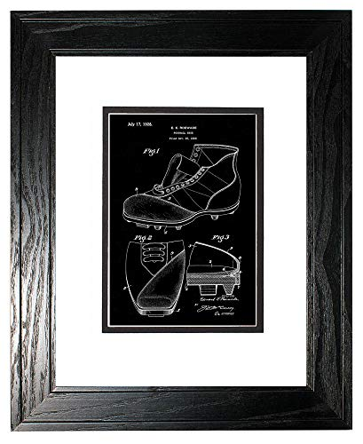 (Football Shoe Patent Art Black Matte Print in a Black Pine Wood Frame with a Double Mat (18