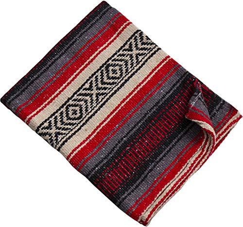 Threads West Premium Beach Heavyweight Mexican Falsa Blanket No Tassels, Serape Stripe Yoga Blanket 52 X 35 Beach Heavy, Red, Beige and Gray Small