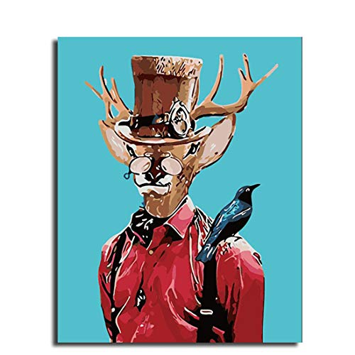 Leezeshaw DIY Oil Painting, Paint by Number Kits Home Decor Wall Pic Value Gift - A Man Cosplay Deer with Bird 16x20 Inch -