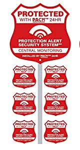 Home Alarm Yard Sign w Post & 6 Alarm System Stickers!