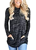 Bdcoco Women's Cowl Neck Long Sleeve Casual Tunic Sweatshirt Tops With Pockets