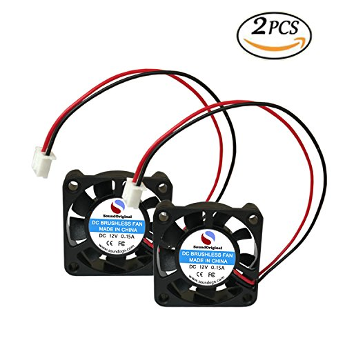 Precision Dc Motors (SoundOriginal 2pcs Brushless DC Cooling Fan 12V 0.15A 40mm x 40mm x10mm Speed 6800 RPM Fans for computer case 3d Printer Humidifier and Other Small Appliances Series Repair Replacement)