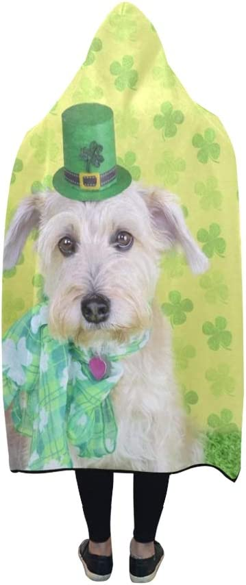 YUMOING Hooded Blanket Dog St Patricks Day Portrait Blanket 60x50 Inch Comfotable Hooded Throw Wrap