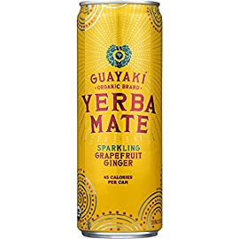 Guayaki Yerba Mate Grapefruit Ginger Sparkling Mate, 12-ounce Cans (Pack of 8) 2 8 pack - 12oz cans Bright citrusy flavor with a bit of sweet and tart 55mg naturally occuring caffeine per serving Certified organic, certified Kosher Gluten free and GMO free Fair trade, sustainable