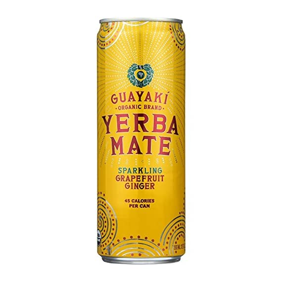 Guayaki Yerba Mate Grapefruit Ginger Sparkling Mate, 12-ounce Cans (Pack of 9) 1 9 pack - 12oz cans Bright citrusy flavor with a bit of sweet and tart 55mg naturally occuring caffeine per serving Certified organic, certified Kosher Gluten free and GMO free Fair trade, sustainable