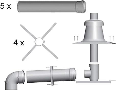 Paquete de tuberías de escape, instalación en caja, color blanco, 60/100: Amazon.es: Bricolaje y herramientas