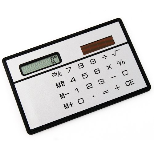 Veroda Mini Powered Credit Card Size Compact Solar Calculator