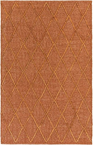 RugPal Contemporary Rectangle Area Rug 6'x9' in Pumpkin Color From Maureen Collection