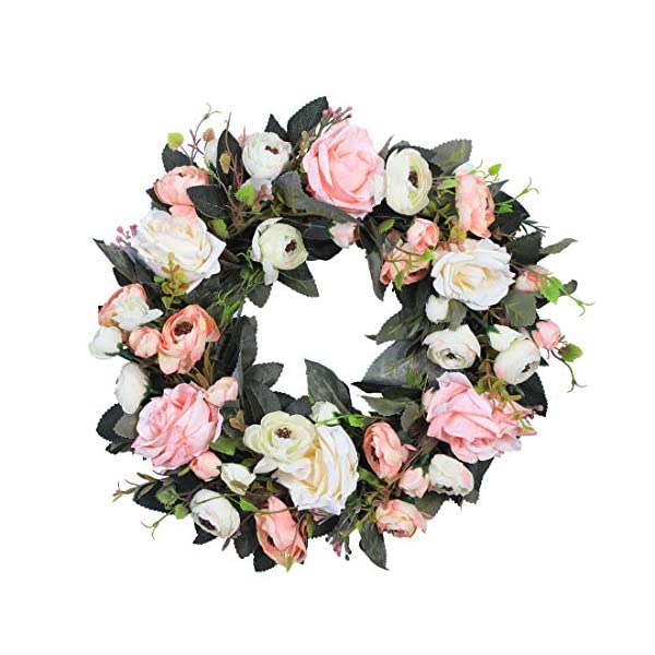 Anna Homey Decor 14″ Pink White Fake Flower Wreath Cherry Blossom Flowers Artificial Silk Peonies Rose Vine Garland Green Wreath for Vintage Front Door Farmhouse Home Office Kitchen Wall Decor