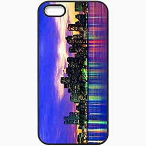 Protective Case Back Cover For iPhone 5 5S Case Boston Lights Reflection Boston Megopolis Black