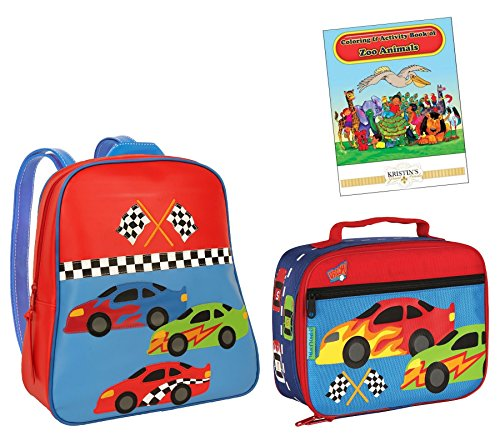 Stephen Joseph Go Go Backpack, Lunch Box, & Coloring Book, Race Car