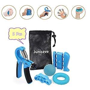 5 Pack Hand Gripper Strengthener, Forearm Grip Workout Kit, Adjustable Grip Exerciser, Finger Stretcher Bands, Finger… 8