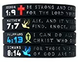 ''Symbols of Faith'' Bible Bracelets with Christian Symbols - Set of 4 Scripture Silicone Wristbands for Men Women