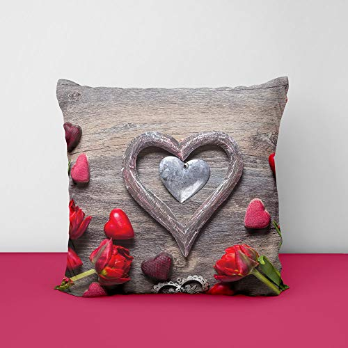 51SrF5q5quL valantine Heart Wood Square Design Printed Cushion Cover