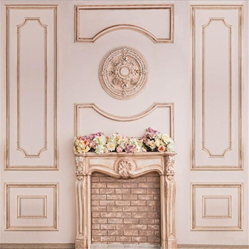 CSFOTO 8x8ft Background for Beautiful Beige Fireplace with Decorative Flowers Wedding Decor Photography Backdrop Luxury Studio Props Vinyl Wallpaper]()