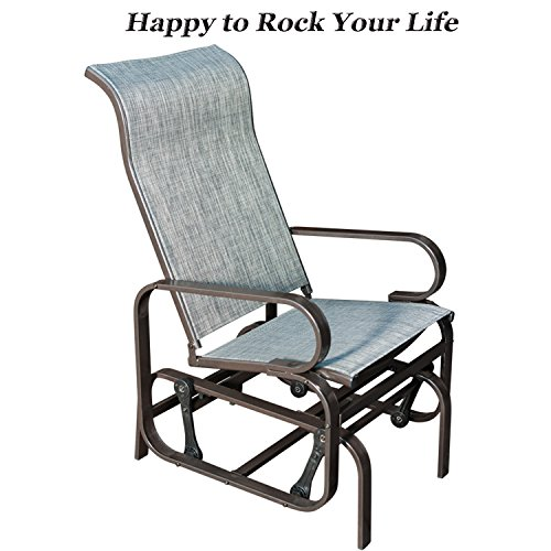 SunLife Patio Glider Rocking Chair, Outdoor Garden Rocker Lounge Chair, Heavy Duty Steel Frame, Taupe Brown Finish, Gray (Rocking Chair Assembled)