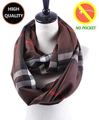 (Women Lightweight Plaid Infinity Scarf - Brown Men Soft Light Thin Spring Summer 2019 New Design Fashion Buffalo Printed Loop Scarfs Ideal Gift)