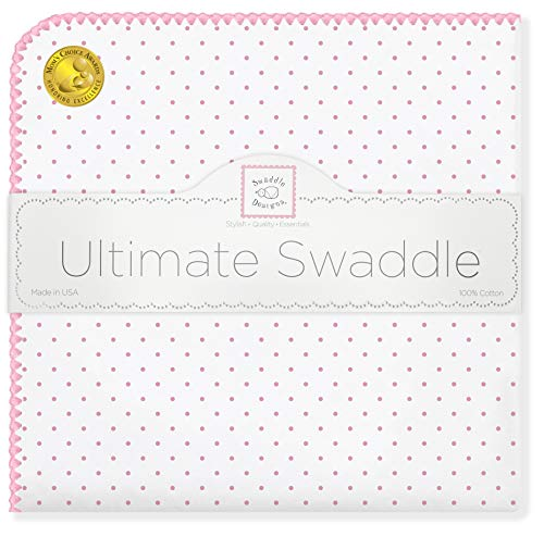 - SwaddleDesigns Ultimate Swaddle, X-Large Receiving Blanket, Made in USA Premium Cotton Flannel, Pink Classic Polka Dots (Mom's Choice Award Winner)