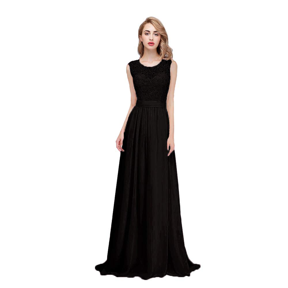 b2395e9a6f Products details:honey qiao bridesmaid dresses take the chiffon  fabric,modest crew neck,fall sleeveless,elegant floor length,sexy a  line,applique floral ...