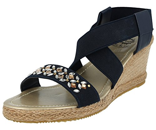 Jo & Joe Ladies Canvas Open Toe Sling Back Elastic Strappy Jewel Raffia Cork Effect Wedge Heel Fashion Summer Sandal Size 4-8 Navy I6S1Duegk