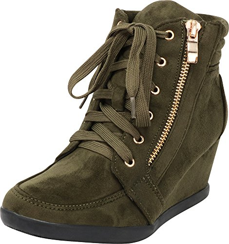(Cambridge Select Women's Zipper Lace Up Wedge Heel Fashion Sneaker (7.5 B(M) US,)