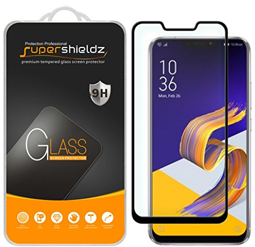 [2-Pack] Supershieldz for Asus Zenfone 5Z (ZS620KL) Tempered Glass Screen Protector, [Full Screen Coverage] Anti-Scratch, Bubble Free, Lifetime Replacement (Black)