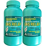 Simethicone 80 mg Anti-Gas Mint Flavor Chewable Tablets Generic for Mylanta Gas, Gas-X Regular For Fast Relief of Acid Indigestion Heartburn Sour Stomach Gas and Bloating 100 Chewable Tablets per Bottle Pack of 2 Bottles Total 200 Tablets