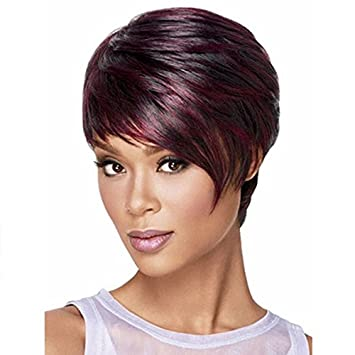Amazon Com Short Mixed Red Wig Short Pixie Cuts Wigs For Black