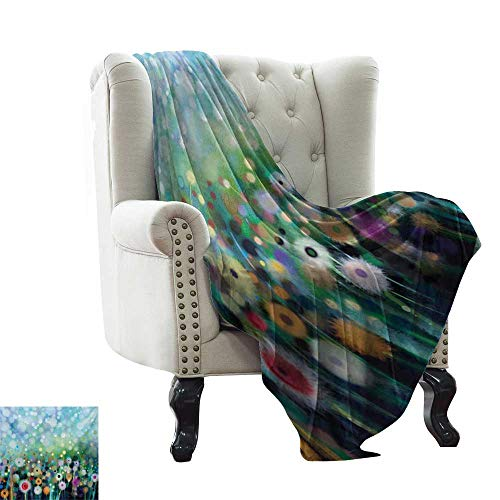 - Flower,Custom Design Cozy Flannel Blanket,Dandelion Seeds in Air Splashes Pollination Time Mother Earth Growing Giving Life 70