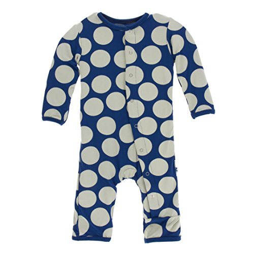 Kickee Pants Little Girls Print Coverall with Snaps - Navy Mod Dot, 3-6 ()