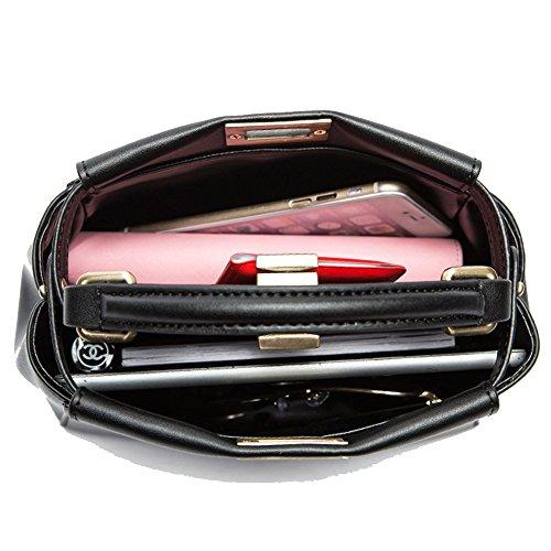 Manico Borse Mostro In Pelle Black Donna Per Serratura Con Tracolla Moda Vera Borsa A Superiore Piccolo Pqgx0xIdw