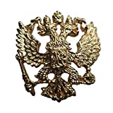 RUSSIAN IMPERIAL EAGLE DOUBLE-HEADED COAT OF ARMS CREST GOLD PLATED LAPEL PIN