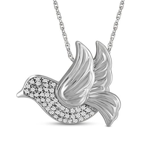 White Dove Necklace - Jewelexcess 1/7 CTW White Diamond Dove Pendant in Sterling Silver