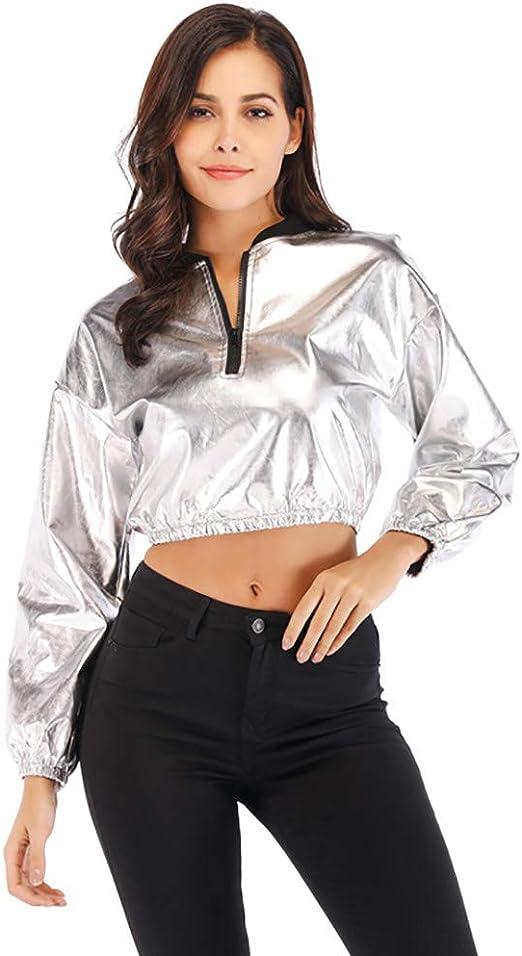 STRIR Camisa de Plata satén Camiseta Reflectante Mujer Camisa de Manga Largas Suelta Camiseta Ocasional Blusa Tops para Carnavales Halloween Todos los dias: Amazon.es: Ropa y accesorios