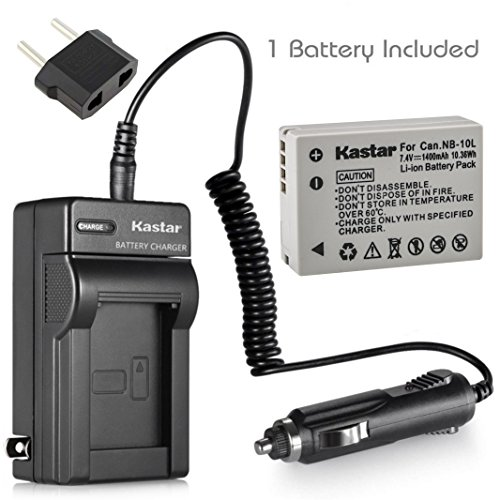 Kastar Battery (1-Pack) and Charger Kit for Canon NB-10L, CB-2LC work with Canon PowerShot G1 X, PowerShot G15, PowerShot G16, PowerShot SX40 HS, PowerShot SX50 HS, PowerShot SX60 HS Digital - Kit 2lc