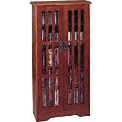 Leslie Dame M-371W High-Capacity Inlaid Glass Mission Style Multimedia Storage Cabinet, Walnut