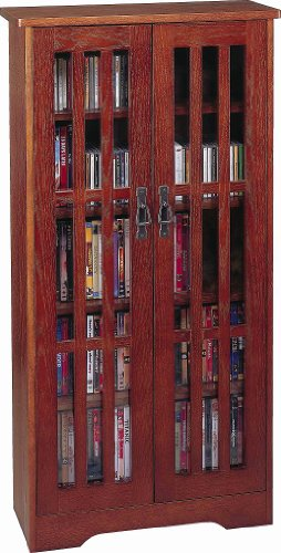 Leslie Dame M-371W High-Capacity Inlaid Glass Mission Style Multimedia Storage Cabinet, (Leslie Dame Dvd Storage)
