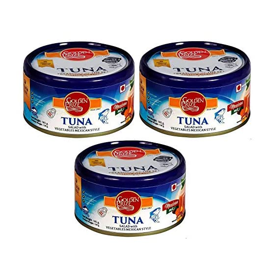 Golden Prize Tuna Salad with Vegetables Meican Style 185Gms Each - Pack of 3 Units