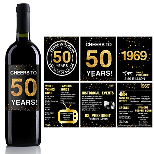 50th Birthday Anniversary Wine Bottle Labels or Stickers Present | 1969 Sign | 50th Anniversary Decorations | Funny Fifty Black Gold Party Decoration Centerpiece Supplies. | Set of 12 -
