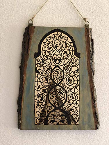 Handmade and Handcrafted Medieval Arabesque Wooden Wall Hanging With A Woodburned Indic, Jain, and Arabesque Fusion. Old World Antique Window ()