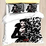 NTCBED A Queen - Duvet Cover Set Soft Comforter Cover Pillowcase Bed Set Unique Printed Floral Pattern Design Duvet Covers Blanket Cover Queen/Full Size